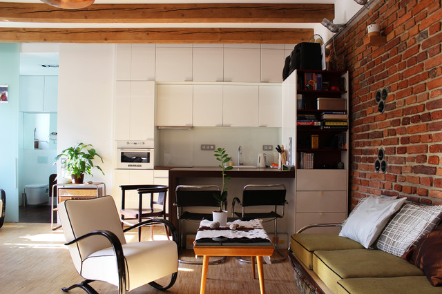 My houzz diy love pays off in a small prague apartment industrial living room other metro - Interior designsquare meter apartment ...