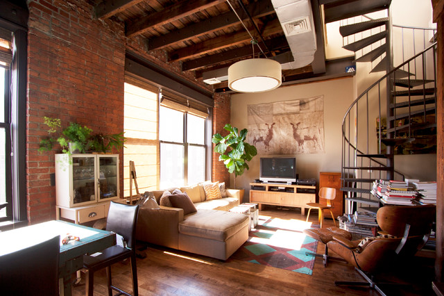 Ed roth williamsburg industrial living room new york for Williamsburg home decor