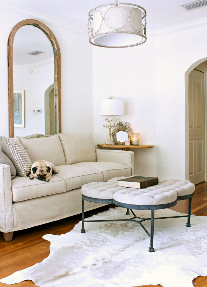 Transitional medium tone wood floor living room photo in Tampa with white walls