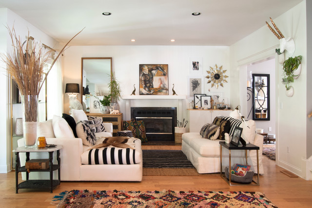 Mid Sized Eclectic Formal And Open Concept Medium Tone Wood Floor Living Room Photo In