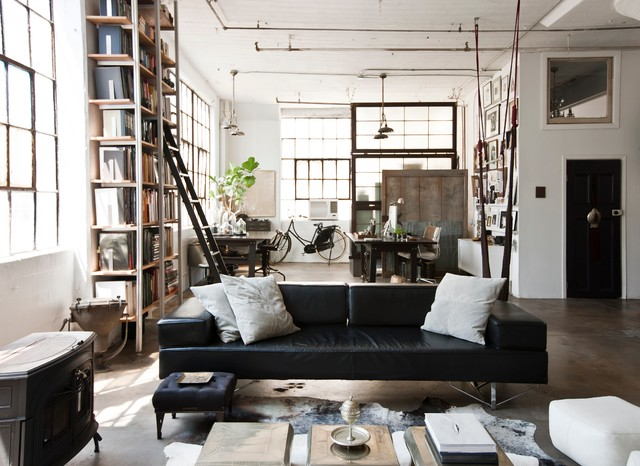 My houzz international meets industrial in a brooklyn for Living room brooklyn