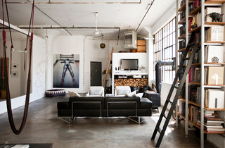 My Houzz: International Meets Industrial in a Brooklyn Loft industrial-living-room