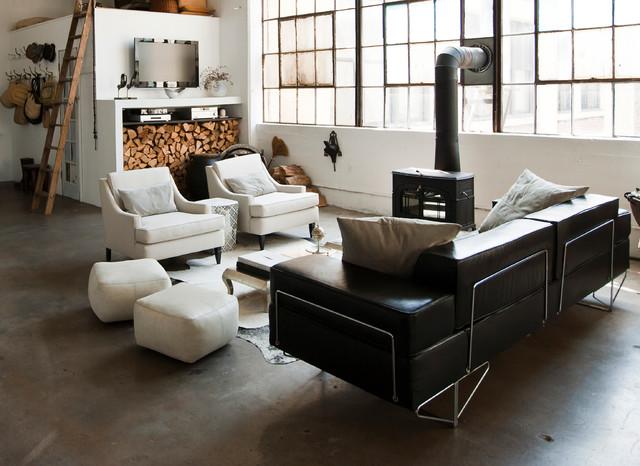My Houzz: International Meets Industrial in a Brooklyn Loft industrial-living-room
