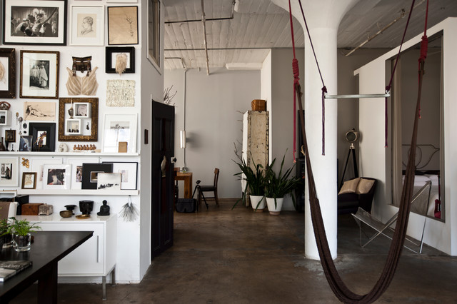Inspiration for an industrial living room remodel in New York