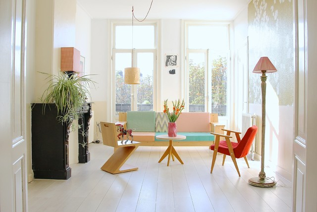 Living Room   Scandinavian White Floor Living Room Idea In Amsterdam With  White Walls