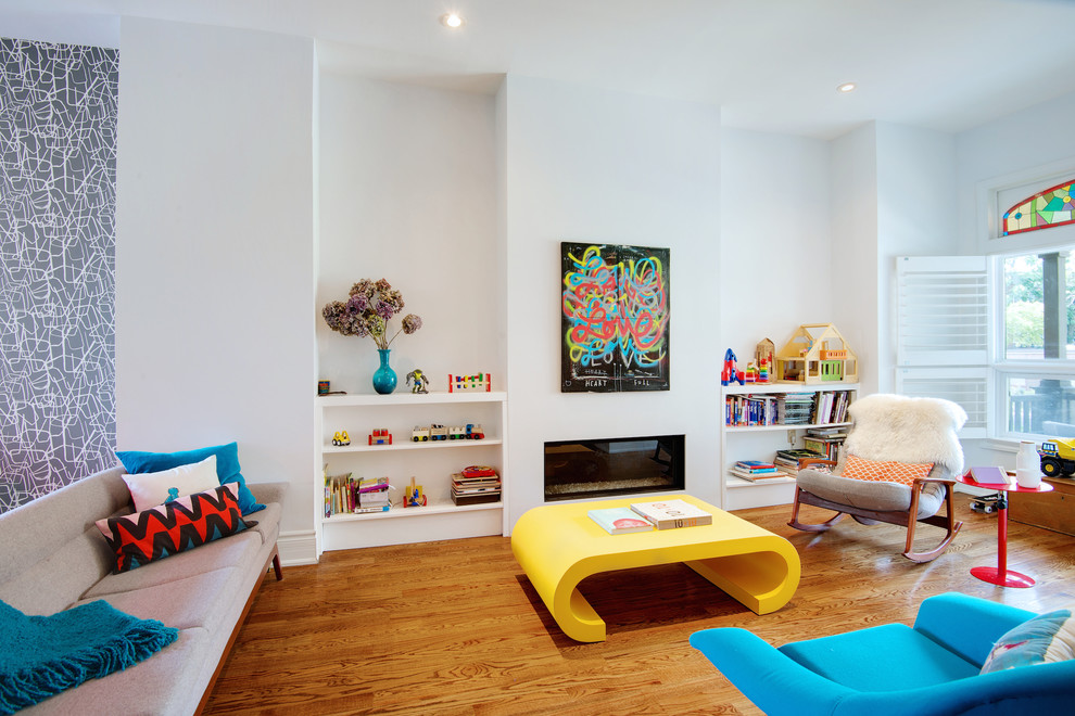 Inspiration for a mid-sized contemporary open concept medium tone wood floor living room remodel in Toronto with white walls, a ribbon fireplace, a plaster fireplace and no tv