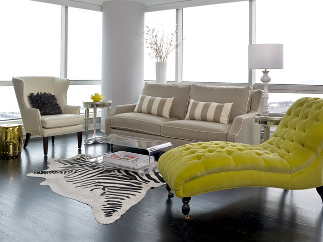 Inspiration for a transitional open concept living room remodel in Chicago : chaise lounge chicago - Sectionals, Sofas & Couches