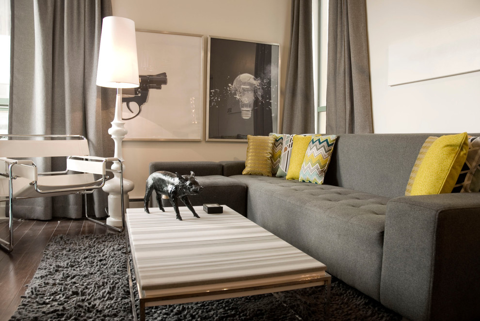 Inspiration for a contemporary living room remodel in Vancouver with beige walls