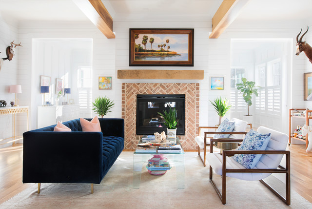Travel Inspired Tropical Home Beach Style Living Room