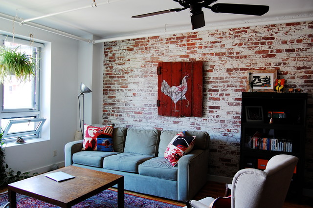 My Houzz Textiles Charm An Open Brooklyn Loft Industrial Living Room