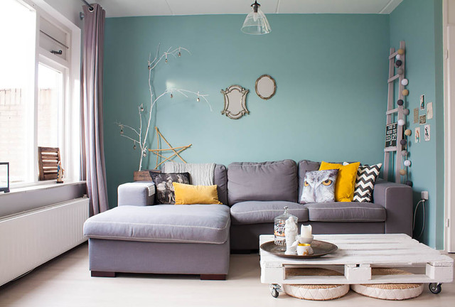 My Houzz Revamped Flea Market Finds Add Personality To A Dutch Home Simple Living Room Turquoise Remodelling