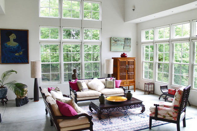 My houzz rockstar vibe meets new england dream home for Oriental furniture living room