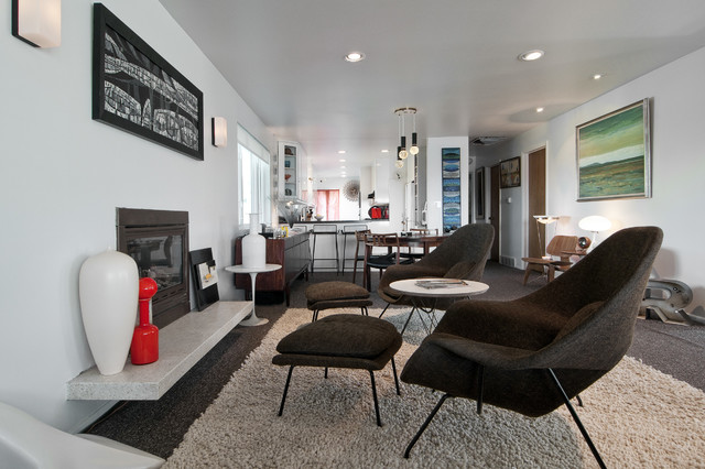 Midcentury modern living room idea in Salt Lake City with white walls. Modern Furniture Styles   Houzz