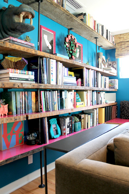 My Houzz: Saturated Colors Help a 1920s Fixer-Upper Flourish - Eclectic - Living Room - Los Angeles - by Madison Modern Home