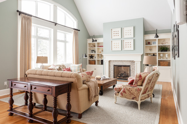 my houzz traditional home with cottage flair transitional living room - Houzz Living Room