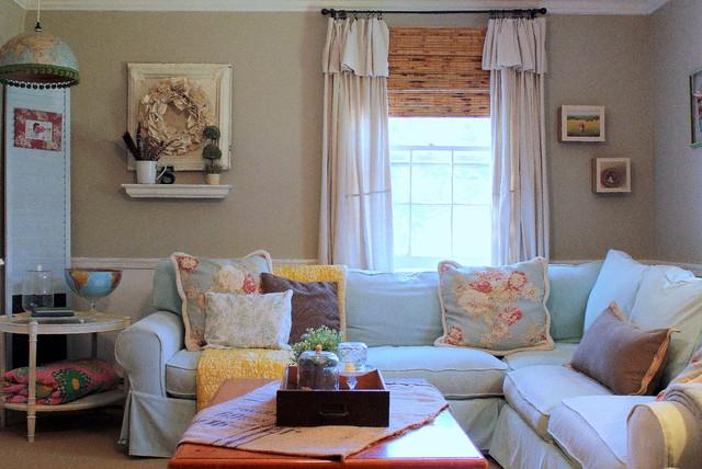 My Houzz Vintage Farmhouse Style romantique,salon