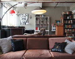 My Houzz: Vintage finds in funky Montreal artists' loft industrial-living-room
