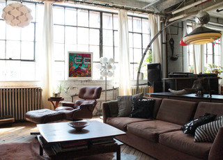 remarkable vintage industrial living room | My Houzz: Vintage finds in funky Montreal artists' loft ...