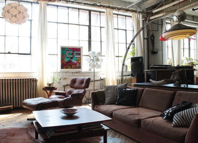 my houzz vintage finds in funky montreal artists 39 loft industrial living room montreal. Black Bedroom Furniture Sets. Home Design Ideas