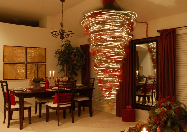 living room traditional living room idea in dallas - Upside Down Christmas Tree Decorated