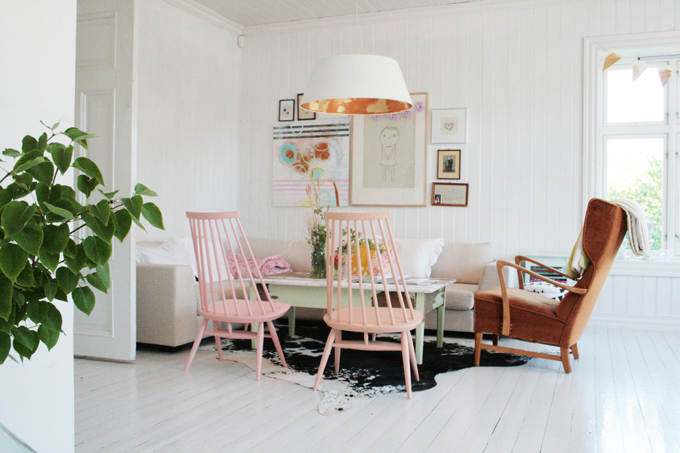 Small danish white floor living room photo in Other with white walls
