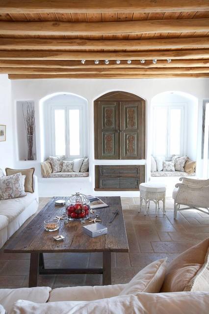 Mykonos Panormos Villas mediterraneo-salon