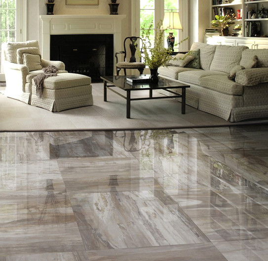 Mystere porcelain tile contemporary living room for Tiles in a living room