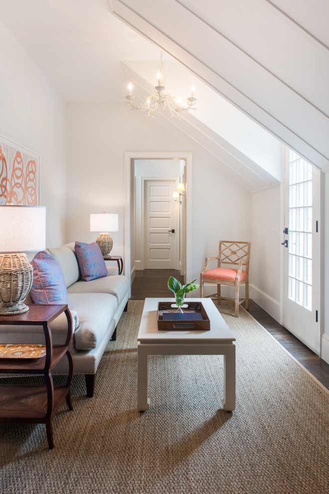 Living room - mid-sized coastal living room idea in Boston with white walls and no tv