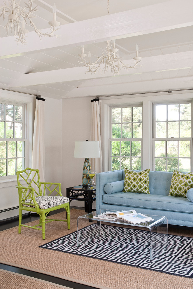 Inspiration for a beach style living room remodel in Boston with beige walls
