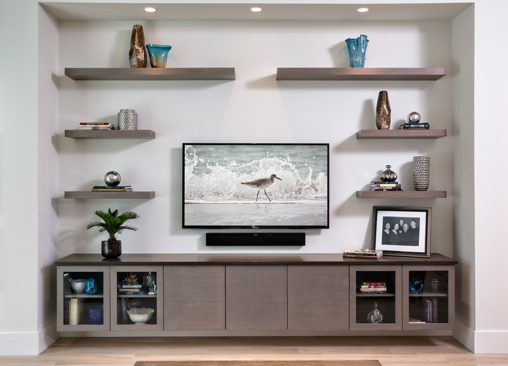 Inspiration for a large contemporary open concept living room remodel in Miami with white walls and a wall-mounted tv