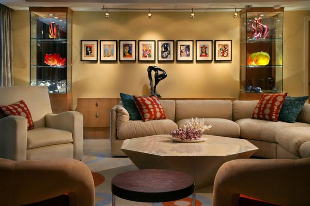 Naples beach condo living room contemporary-living-room
