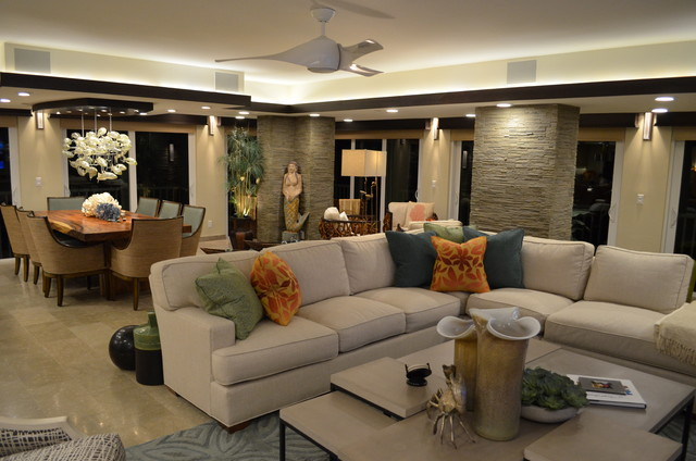 Inspiration for a transitional living room remodel in Miami