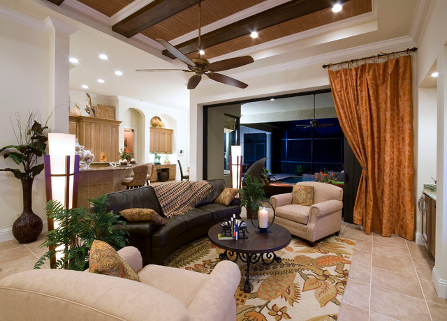 Naples FL Twin Eagles Golf Community contemporary-living-room