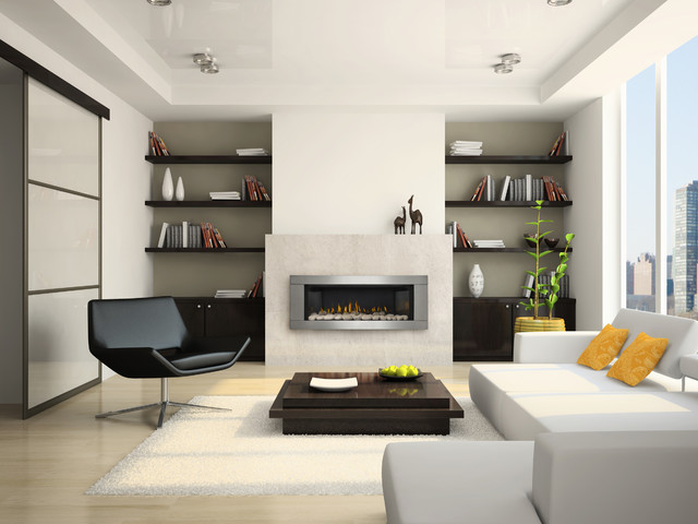 Example of a large minimalist formal and enclosed light wood floor and beige floor living room design in Other with white walls, a ribbon fireplace, a metal fireplace and no tv