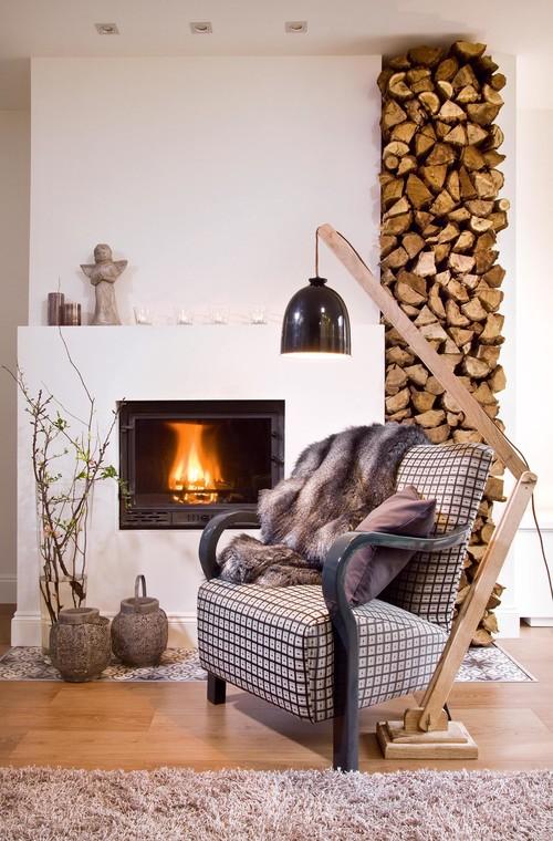 fauteuil au coin du feu, inspiration hygge