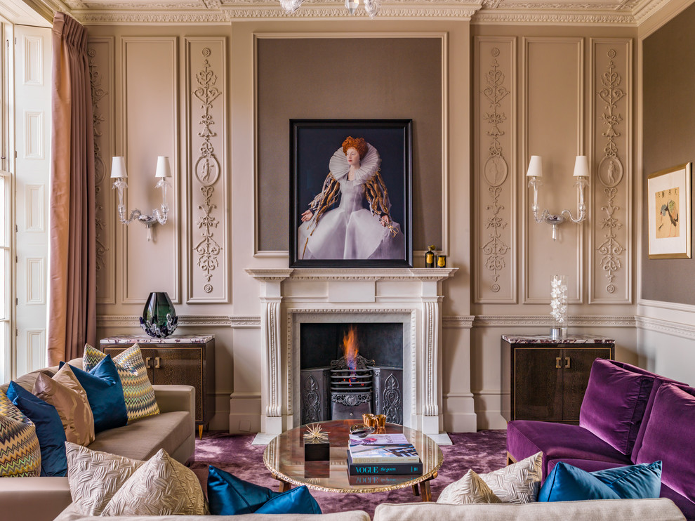 Large ornate formal and open concept carpeted and purple floor living room photo in London with beige walls, a standard fireplace, a stone fireplace and no tv