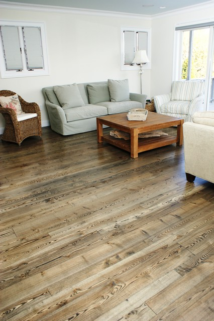 Natural Ash Wood Flooring Contemporary Living Room Boston By