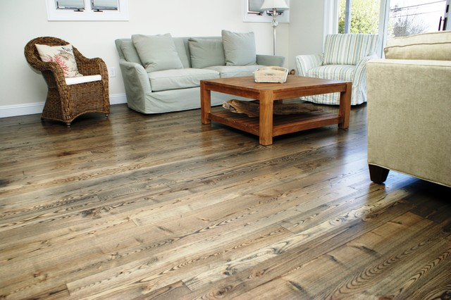 Natural Ash Wood Flooring Contemporary Living Room