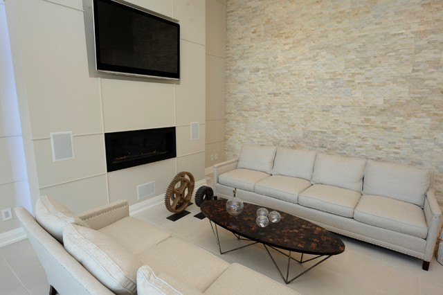 Natural Stacked Stone Accent Wall Living Room Living Room By Realstone Sy