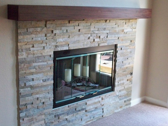 Natural stacked stone fireplace contemporary living for Fireplace half stone