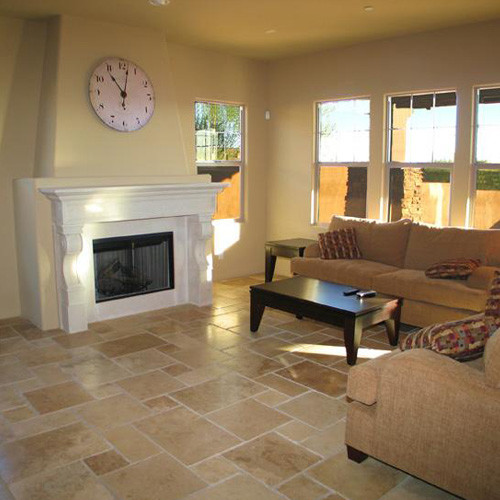 Natural stone travertine flooring for Living room floor tiles