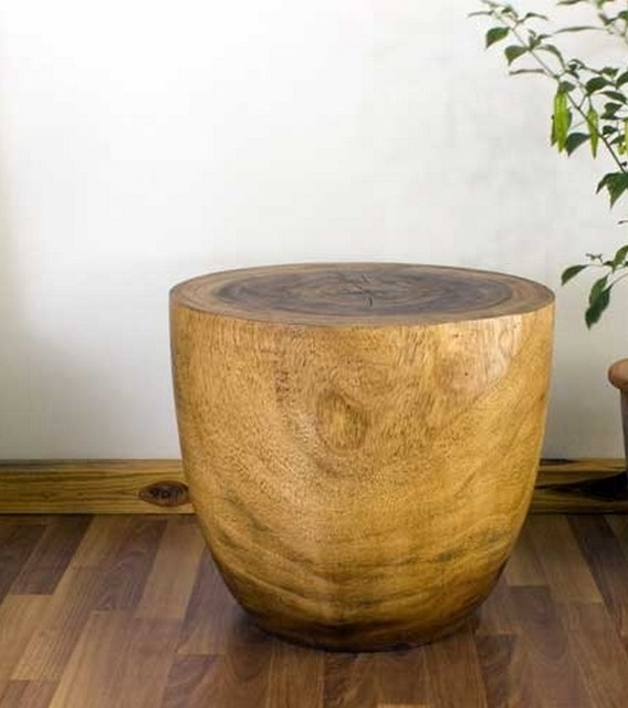 Natural Wood End Tables asian-living-room