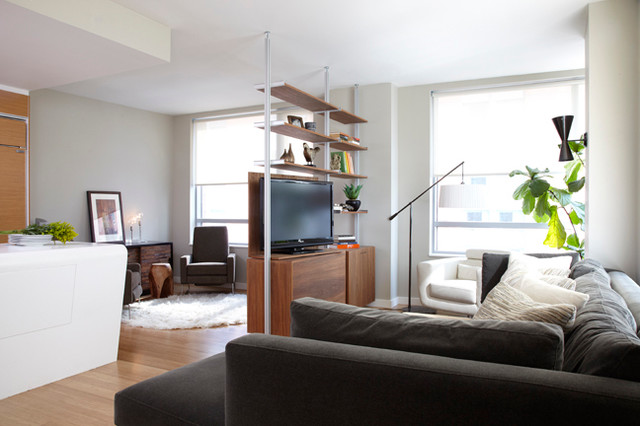 Naturally Modern Battery Park City Condo - modern - living room ...