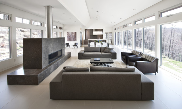 Nature'S Drama: Laurentian Long House - Contemporary - Living Room