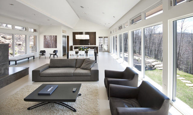 Natures Drama Laurentian Long House Contemporary Living Room