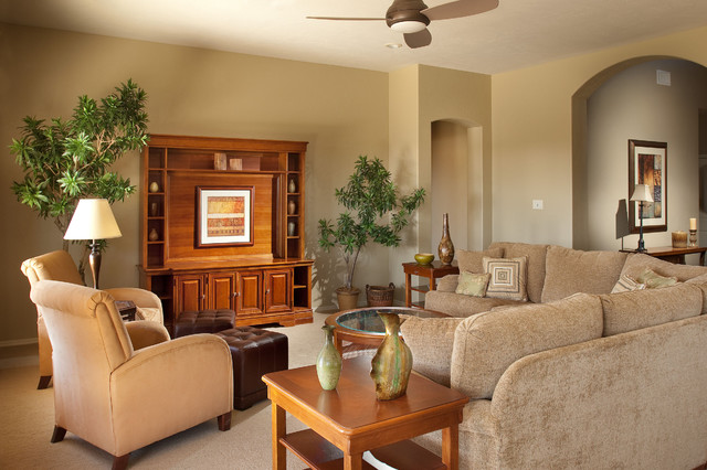 Nature Themed Model Home eclectic-living-room
