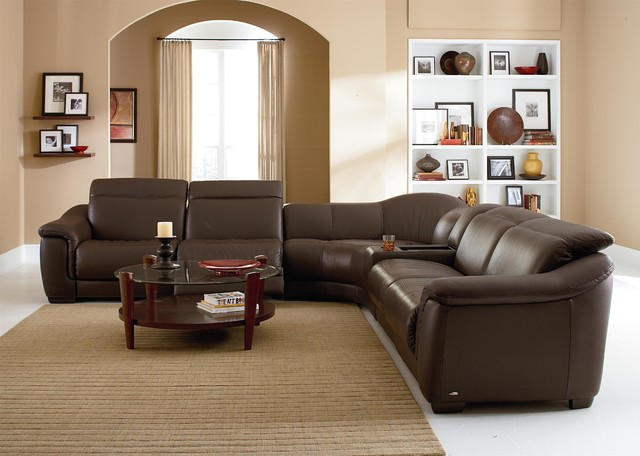 Natuzzi Editions Contemporary Leather Reclining Sectional ...