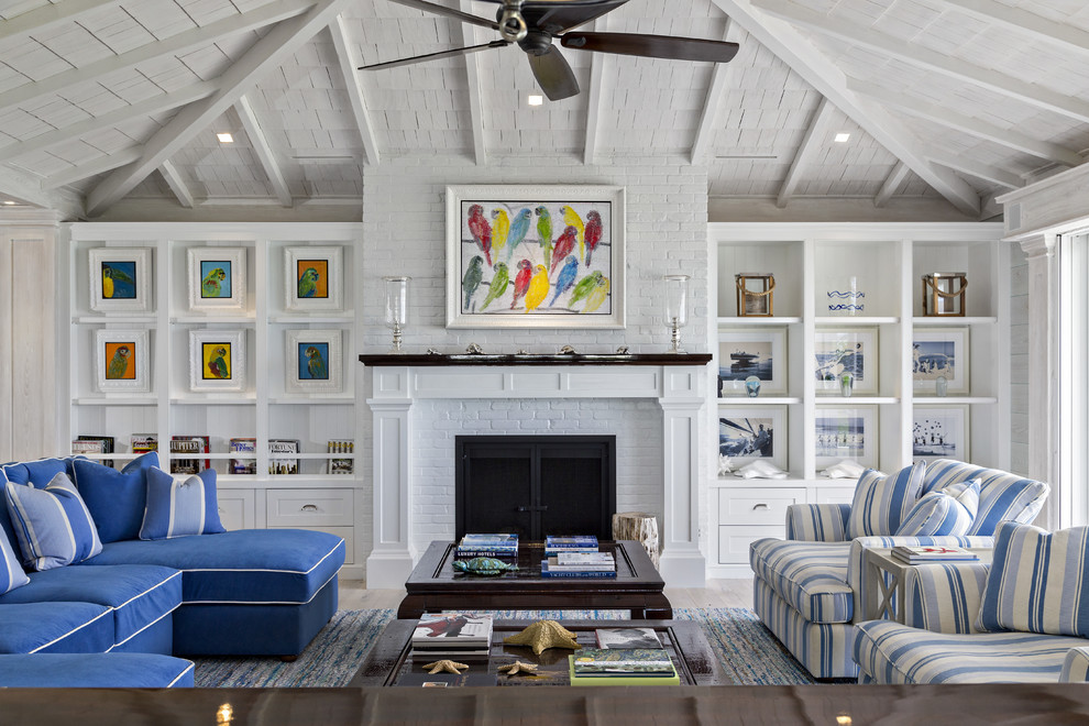 Nautical Inspired Living Room Beach Style Living Room Miami By Keating Moore Construction
