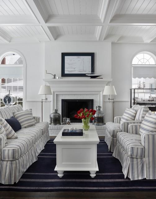 Nautical Navy Traditional Living Room