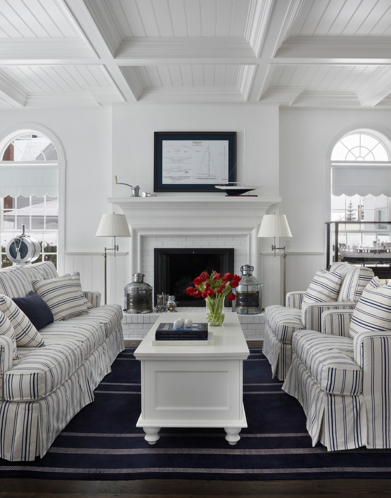 Living room - traditional living room idea in Other with white walls